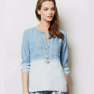 Anthro Cloth & Stone - Chambray Long Sleeve Top